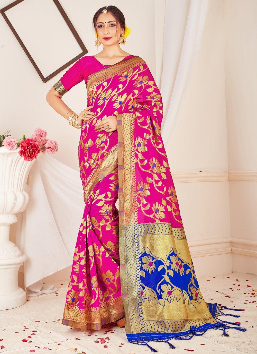 Pink Art Banarasi Silk Designer Traditional Saree