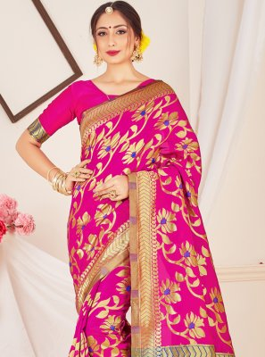 Pink Art Banarasi Silk Designer Traditional Saree