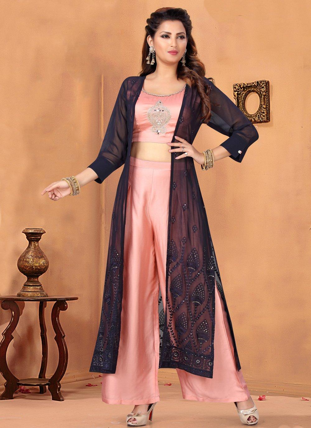 Pink Art Silk Designer Salwar Kameez