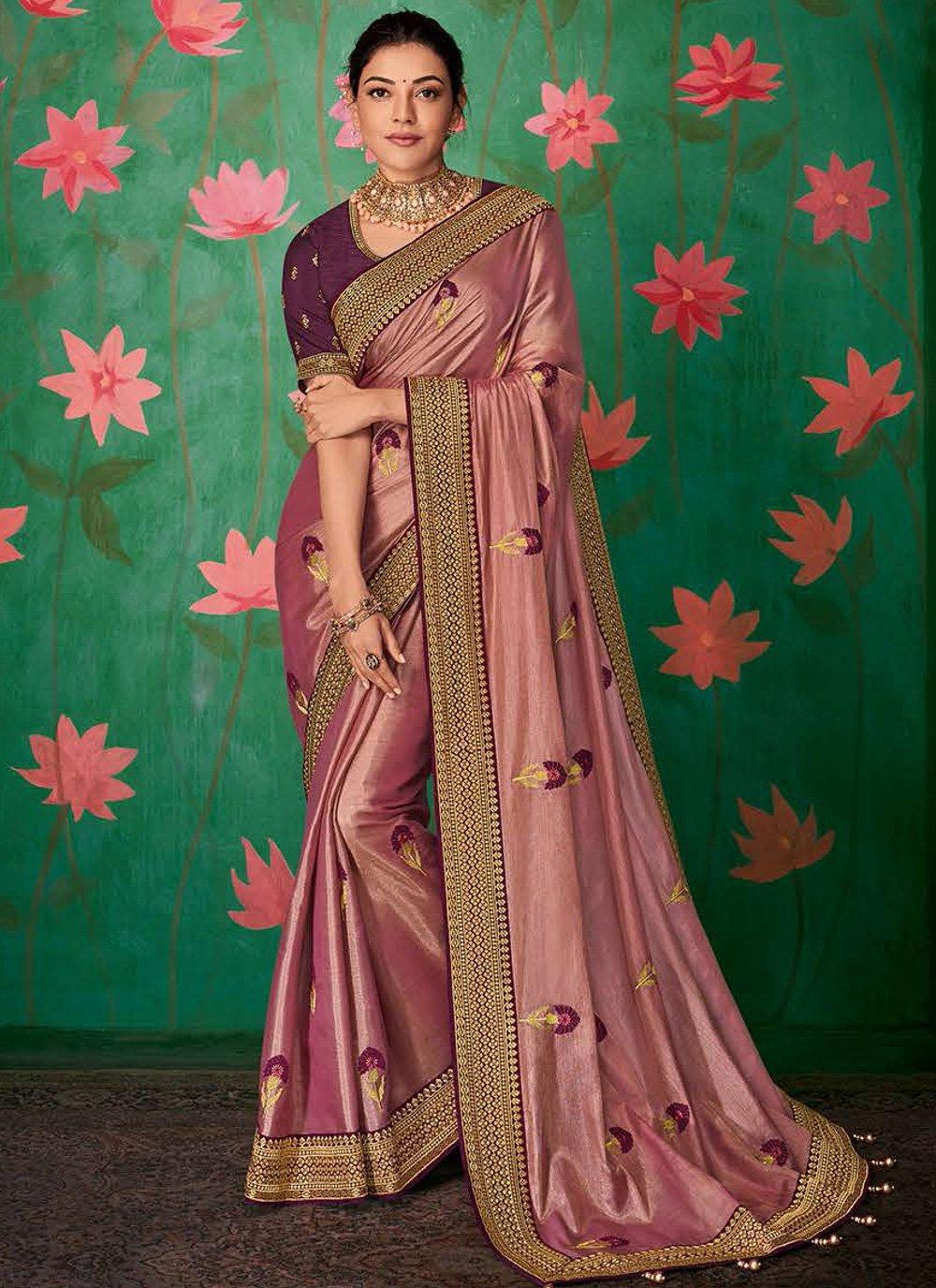 Pink Art Silk Embroidered Contemporary Saree