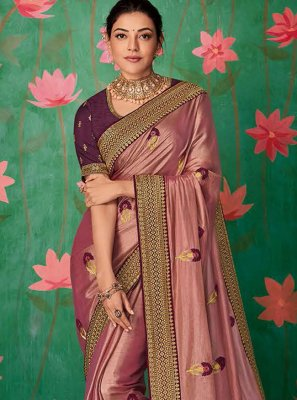 Pink Art Silk Embroidered Contemporary Saree