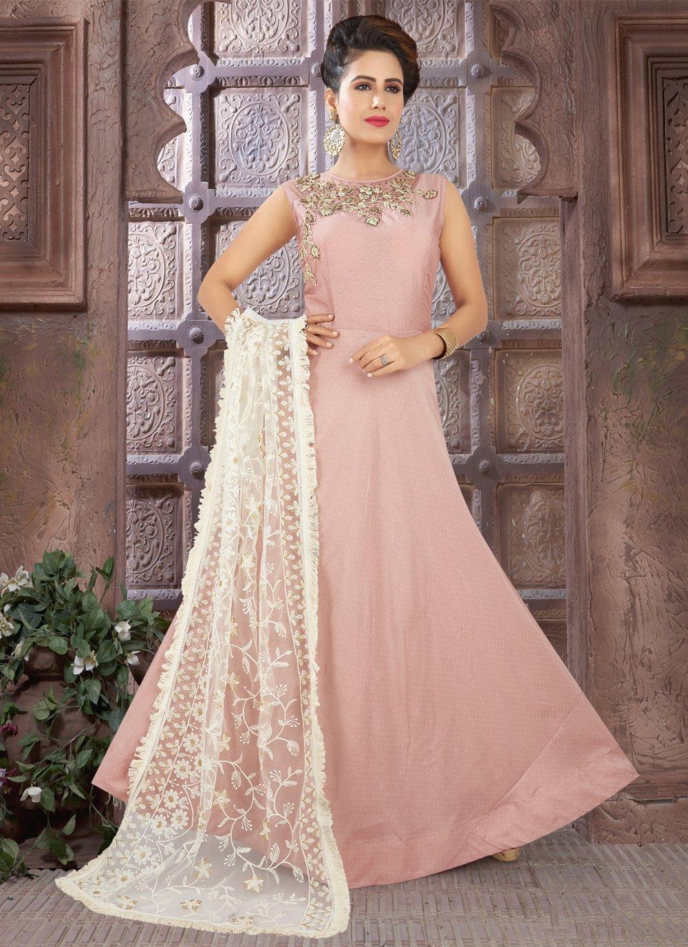 Pink Art Silk Fancy Floor Length Anarkali Suit