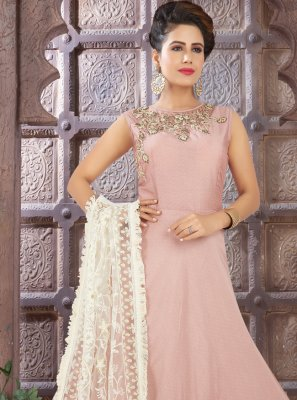 Pink Art Silk Fancy Floor Length Anarkali Suit