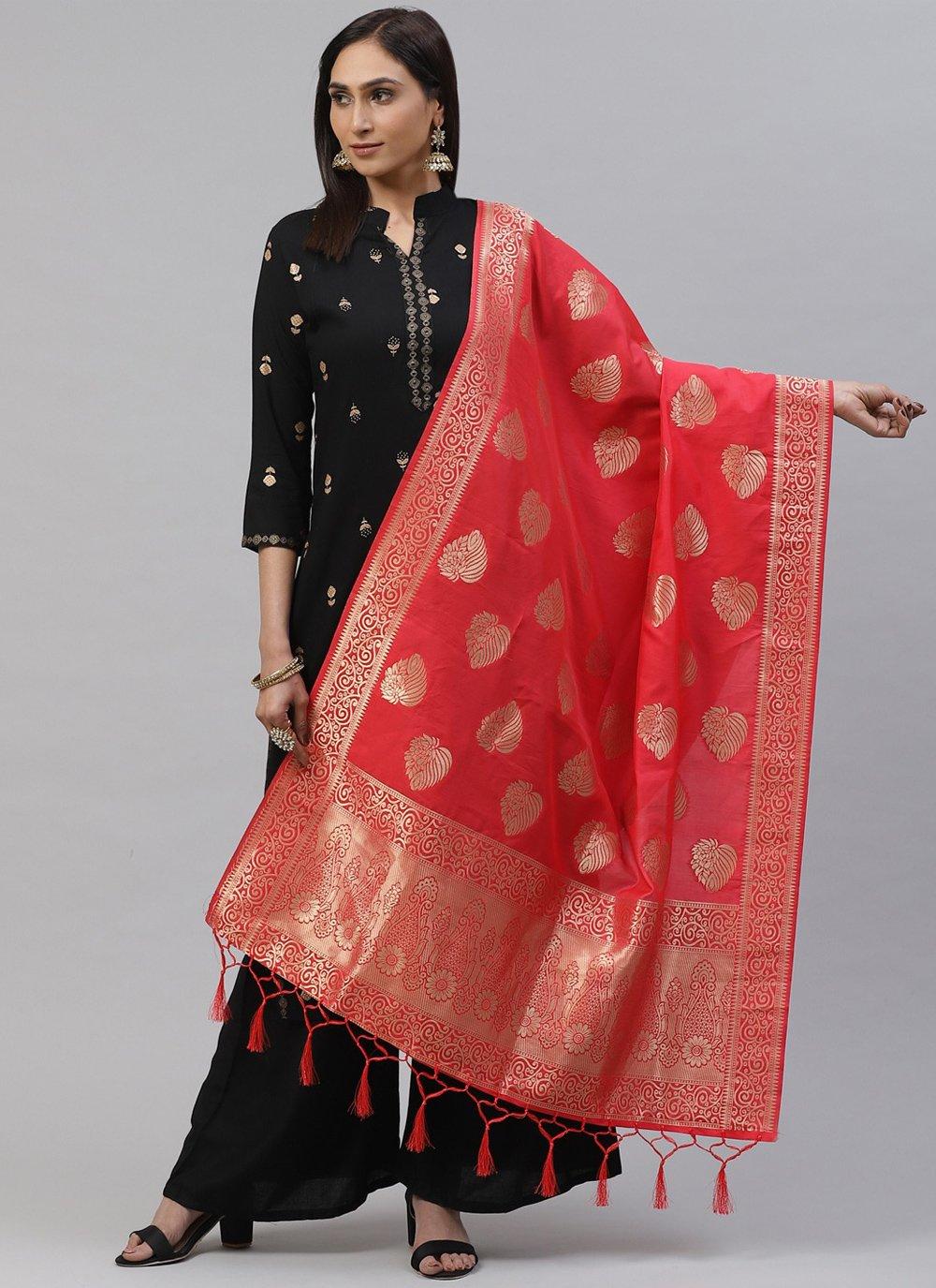 Pink Art Silk Weaving Designer Dupatta