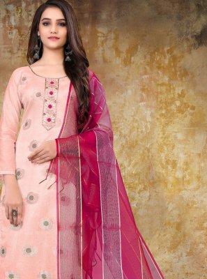 Pink Banarasi Jacquard Festival Designer Straight Suit