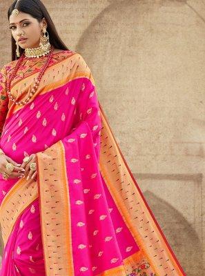 Pink Banarasi Silk Ceremonial Trendy Saree
