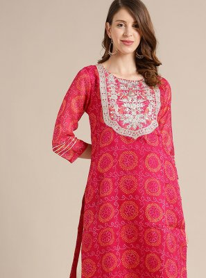 Pink Blended Cotton Party Wear Kurti