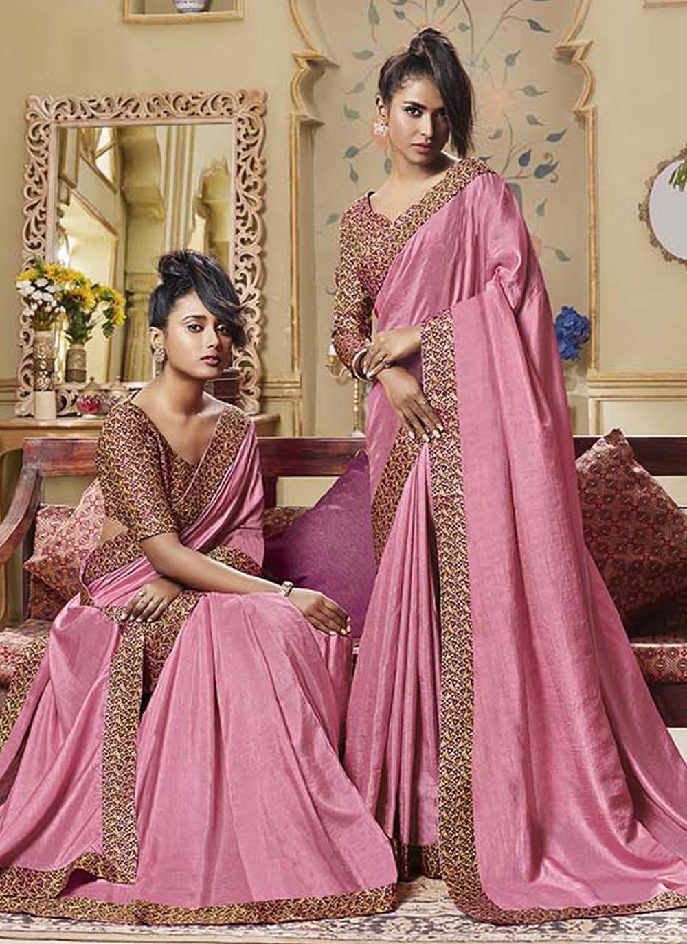 Pink Ceremonial Art Silk Classic Designer Saree