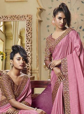 Pink Ceremonial Art Silk Classic Designer Saree