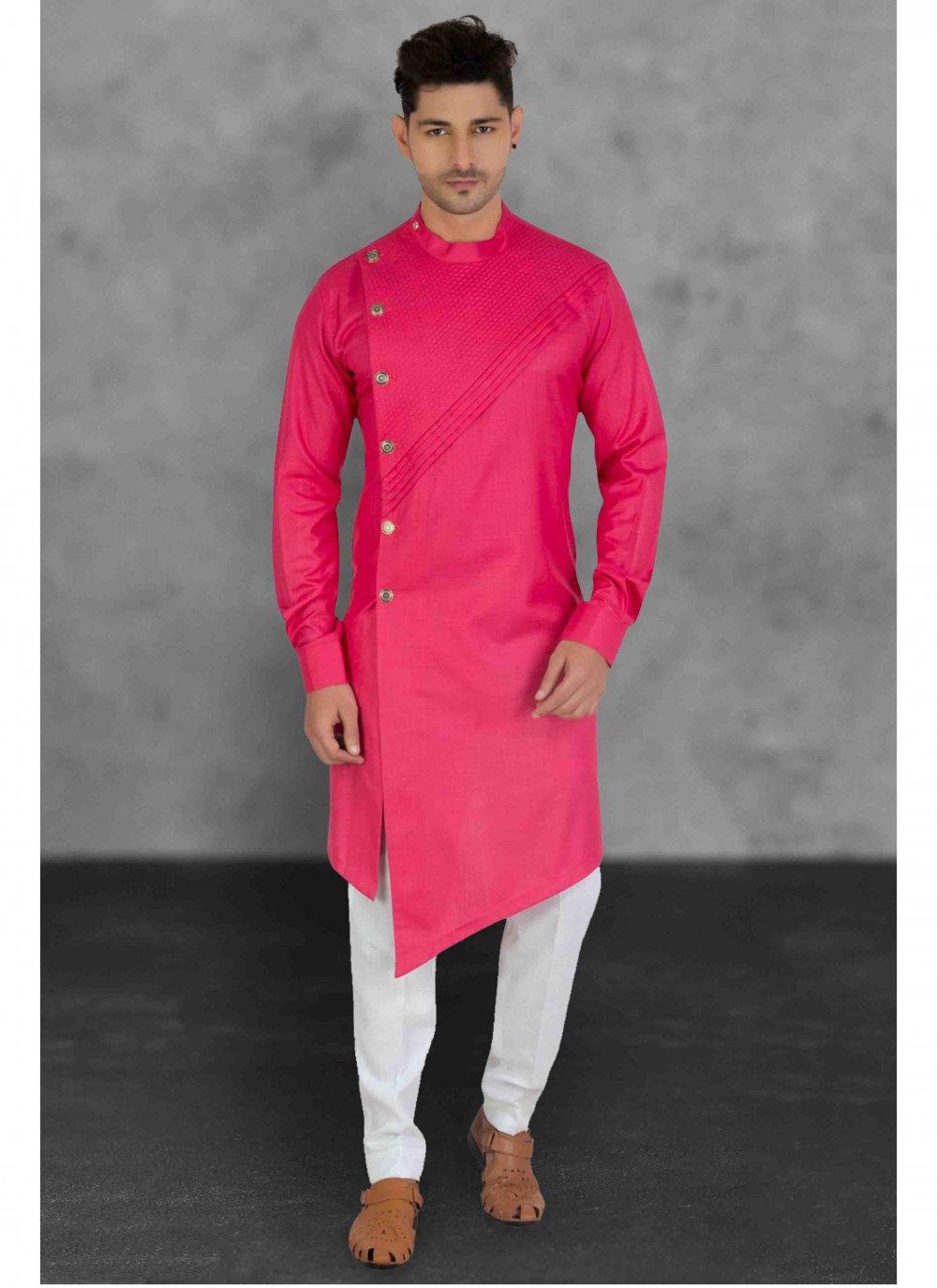 Pink Ceremonial Cotton Kurta Pyjama