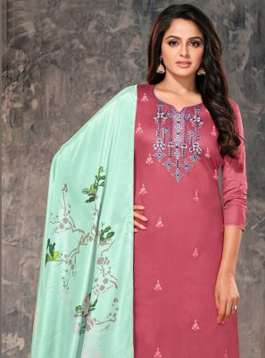 Pink Ceremonial Cotton Straight Suit