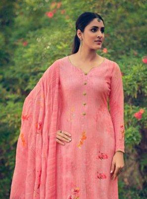 Pink Ceremonial Muslin Designer Palazzo Salwar Suit