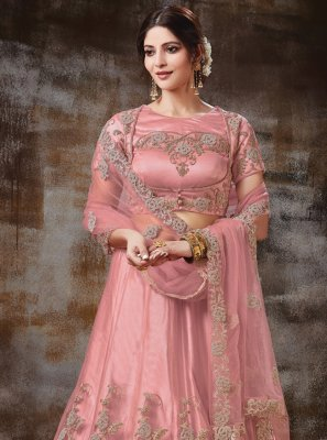 Pink Ceremonial Satin Silk Lehenga Choli