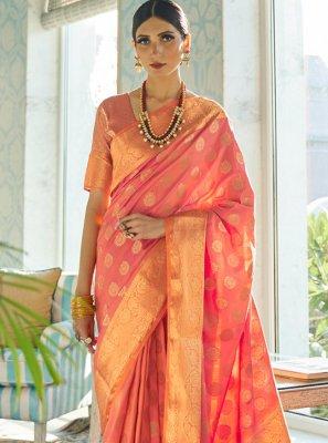 Pink Ceremonial Silk Traditional Designer Saree