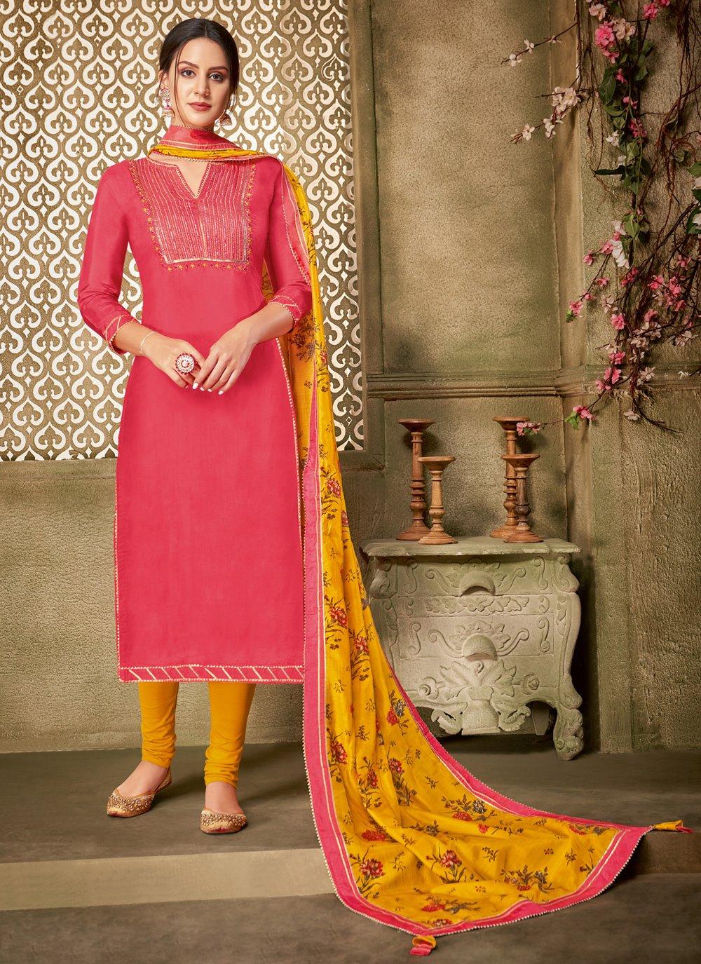 Pink Chanderi Cotton Churidar Designer Suit
