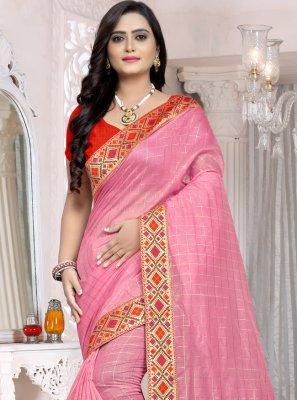 Pink Chanderi Cotton Trendy Saree