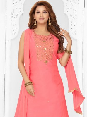 Pink Chanderi Festival Readymade Suit