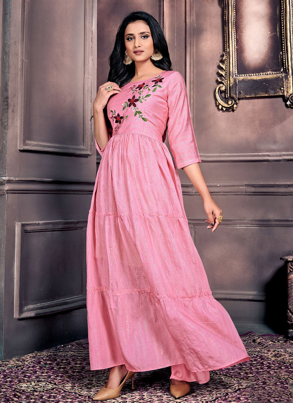 Pink Chanderi Party Wear Kurti