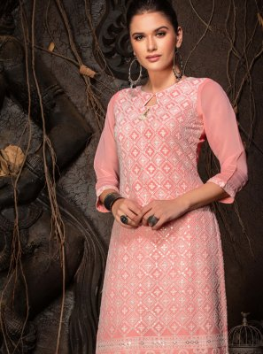 Pink Chicken Party Wear Kurti