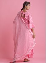 Pink Cotton Block Print Readymade Suit