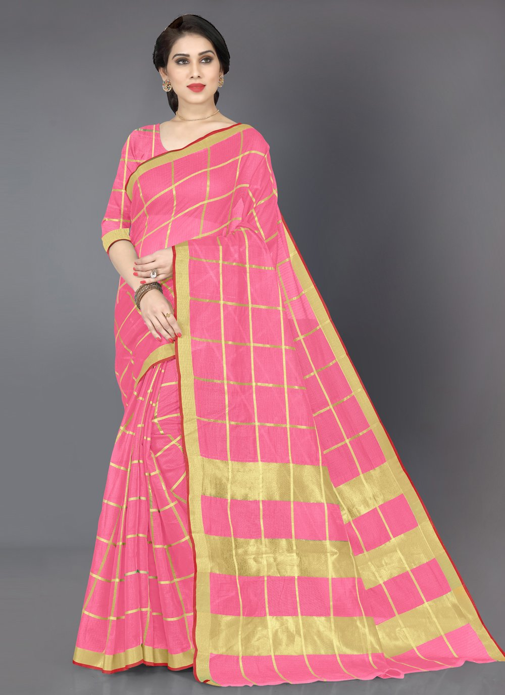 Pink Cotton Casual Casual Saree