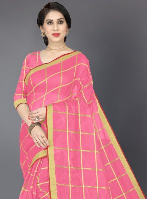Pink Cotton Casual Casual Saree