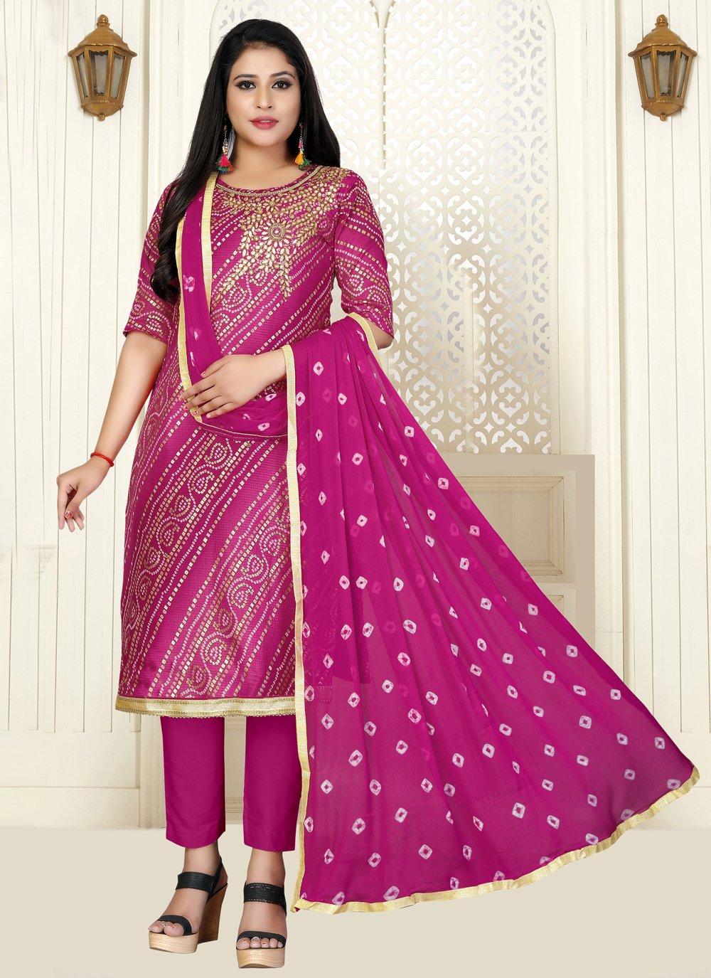 Pink Cotton Designer Salwar Suit