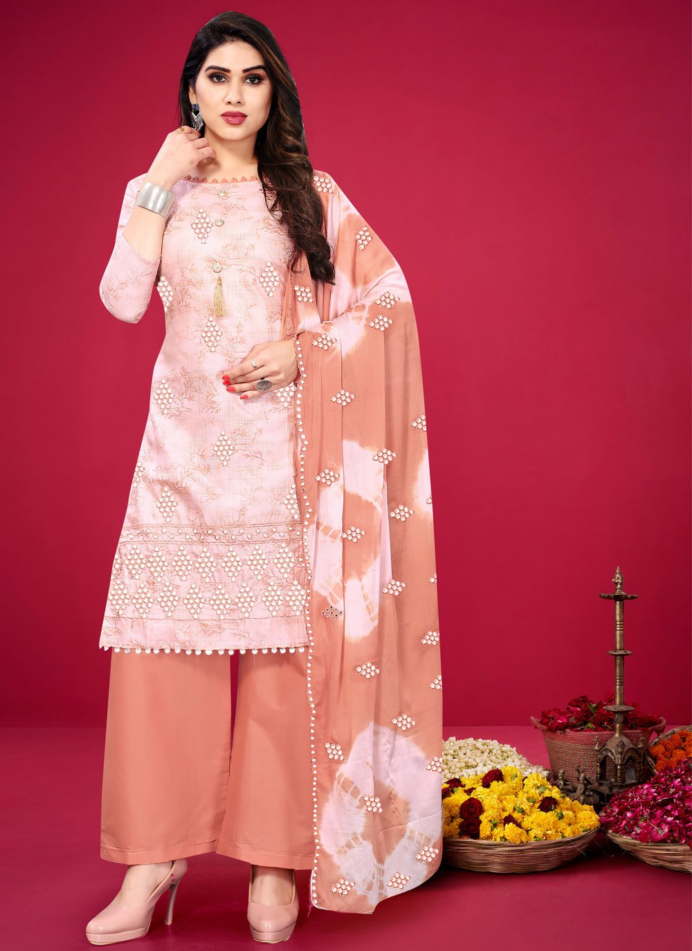 Pink Cotton Embroidered Designer Palazzo Suit