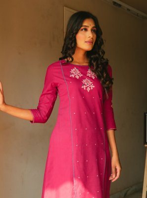 Pink Cotton Festival Party Wear Kurti