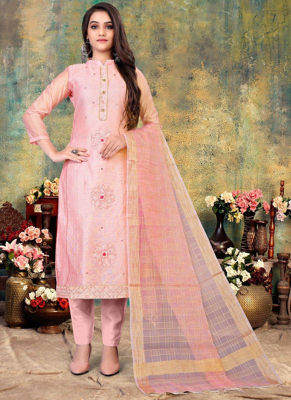 Pink Cotton Pant Style Suit