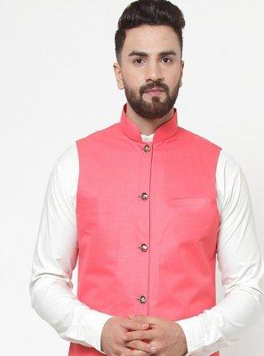 Pink Cotton Plain Nehru Jackets