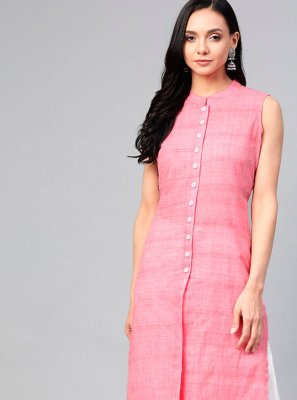 Pink Cotton Plain Party Wear Kurti