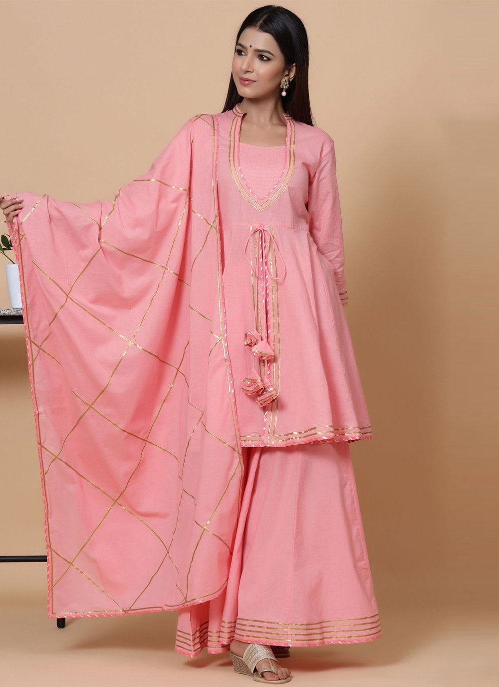 Pink Cotton Readymade Suit