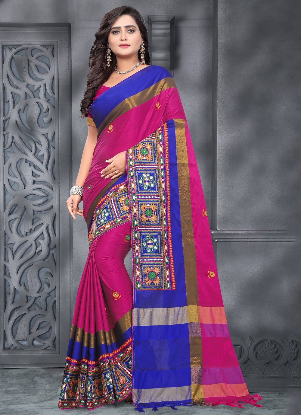 Pink Cotton Silk Designer Traditional Saree