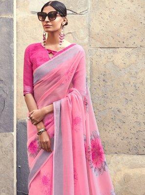 Pink Cotton Silk Silk Saree