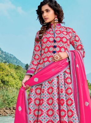 Pink Digital Print Floor Length Anarkali Suit