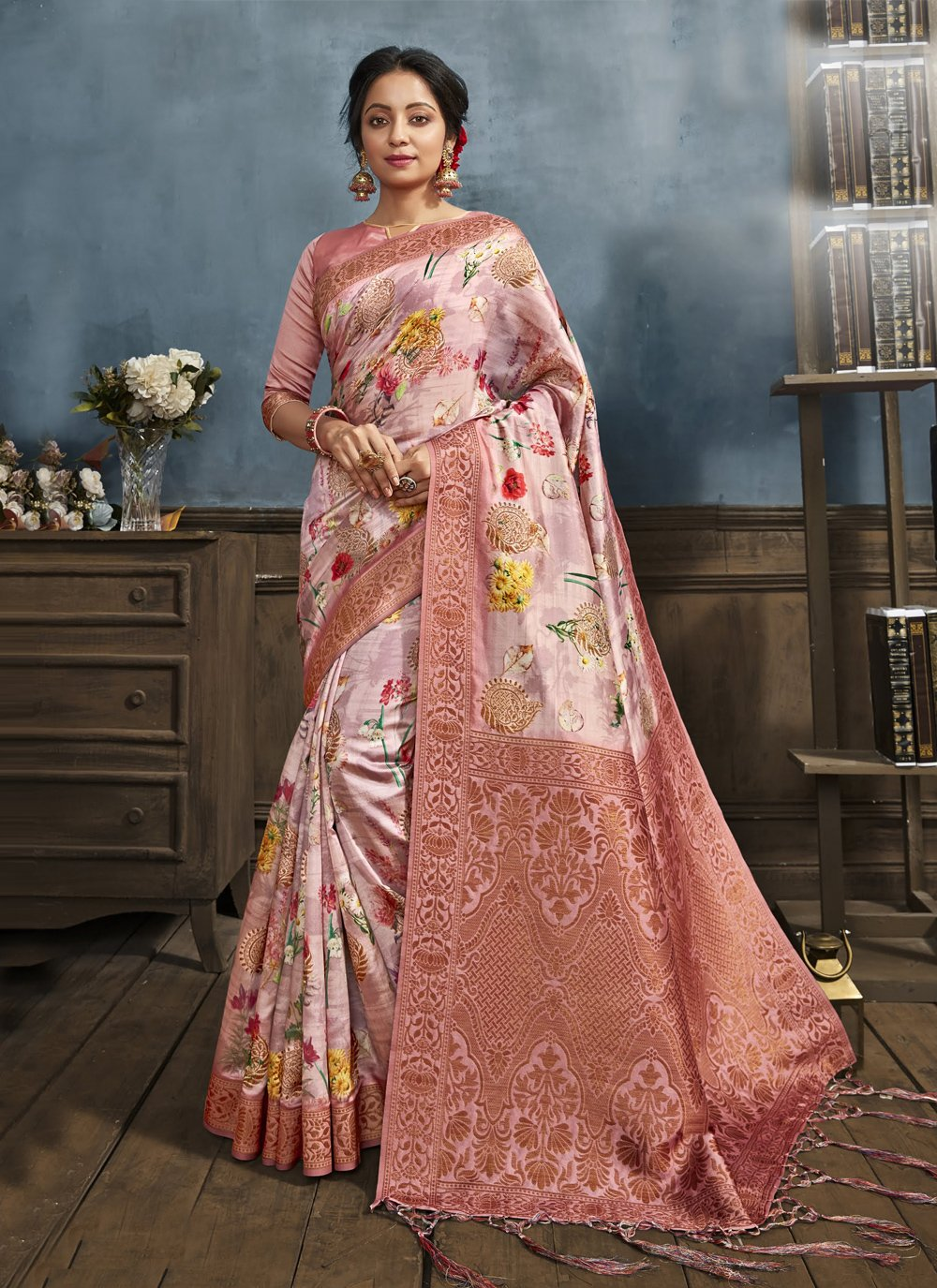 Pink Digital Print Printed Saree