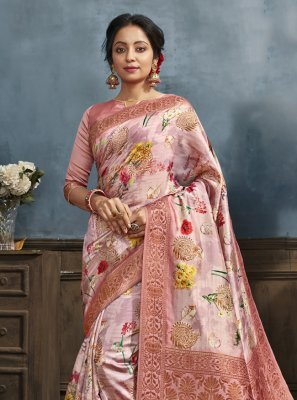 Pink Digital Print Printed Saree