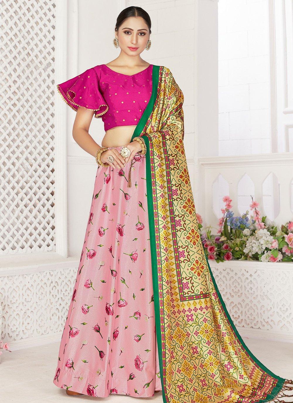 Pink Digital Print Readymade Lehenga Choli