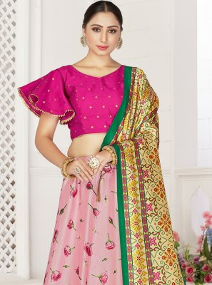 Pink Digital Print Readymade Lehenga Choli