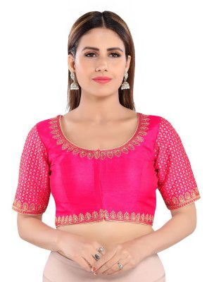 Pink Embroidered Art Silk Blouse