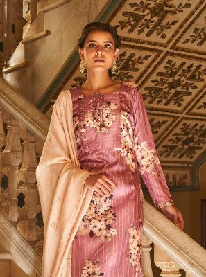 Pink Embroidered Art Silk Designer Palazzo Suit