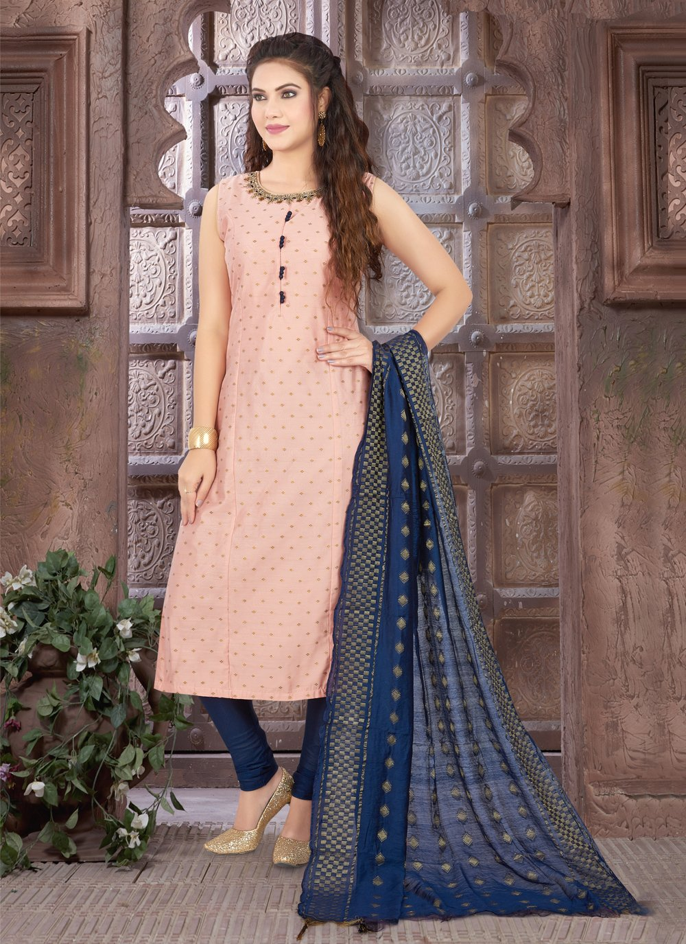 Pink Embroidered Art Silk Readymade Suit