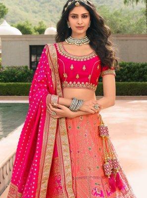 Pink Embroidered Banarasi Silk Trendy Lehenga Choli