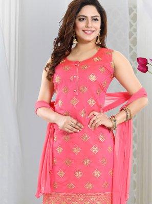Pink Embroidered Churidar Designer Suit