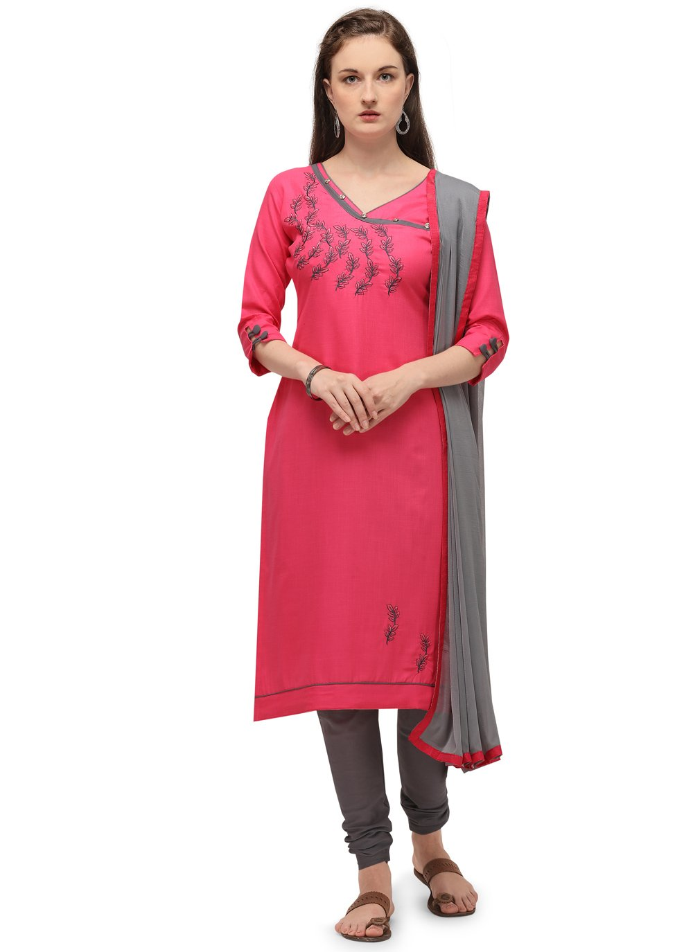 Pink Embroidered Cotton Churidar Designer Suit