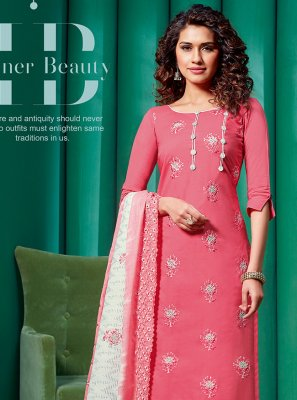 Pink Embroidered Cotton Pant Style Suit