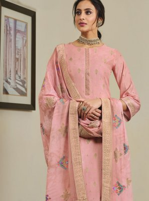 Pink Embroidered Designer Palazzo Suit