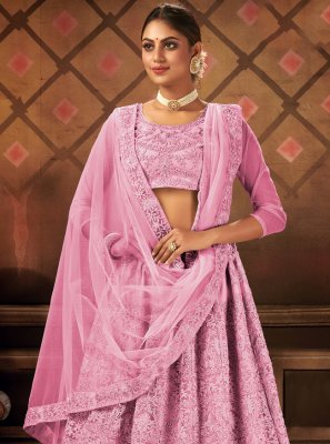 Pink Embroidered Engagement Lehenga Choli