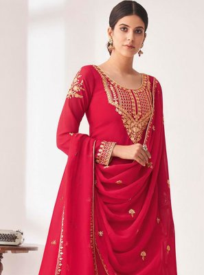 Pink Embroidered Faux Georgette Designer Palazzo Salwar Suit